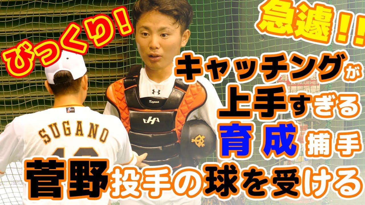 菅野智之投手の球を受ける小山翔平捕手